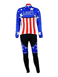 KOOPLUS® Cycling Jersey with Tights Women's / Men's / Unisex Long Sleeve BikeBreathable / Waterproof Zipper / Wearable / Reflective