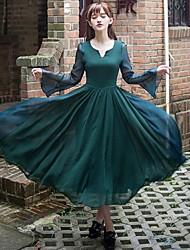 vestido de balanço de incern®women seda vintage esguio