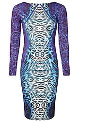 leopardo cuello redondo vestido de corte slim de Fenya mujeres
