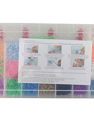 Rainbow Color Fashion Loom Kit for DIY Bracelet(2100PCS Bands+4 Package Clips+1 Loom Board+3 Hook)