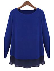 moda cor sólida camisa de Abigail mulheres em torno do pescoço