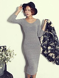 Women's Solid Gray Dress , Bodycon/Casual/Party V Neck Long Sleeve