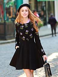 Women's Coats & Jackets , Acrylic/Polyester/Wool Blend Long Sleeve DABUWAWA