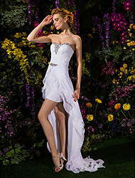 Lanting Sheath/Column Wedding Dress - White Asymmetrical Sweetheart Chiffon/Lace