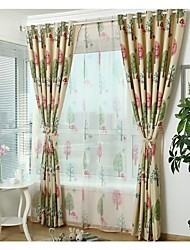 Two Panels Country / Modern / Neoclassical / Mediterranean / European Floral / Botanical As Per Picture Kids Room PolyesterPanel Curtains