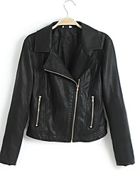 Faux Leather Jacket Women's Long Sleeve Turndown PU Jacket