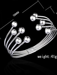 Fashion Sterling Silver Plated Beading Bangle Women's Bracelet