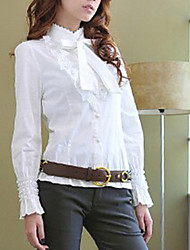 Elegant Long Sleeve with Necktie Lace Blouse White