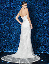 Sheath/Column Wedding Dress - Ivory Court Train Halter Lace