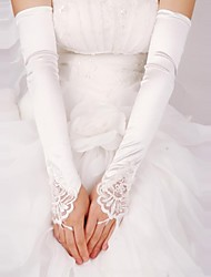 Opera Length Fingerless Glove Satin/Lace Bridal Gloves