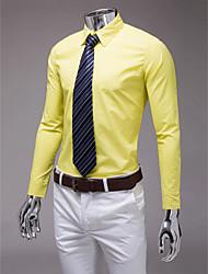 jaune mince chemise à manches longues en forme