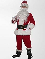 Father Christma Velvet Overalls Santa Suit(for Height:170-175cm)