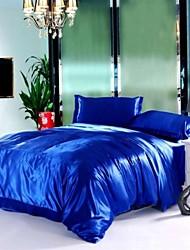 4 pezzi zaffiro blu di seta pura forniture alberghiere banda copripiumino set