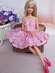 Barbie Doll Sweet Rose Princess Dress Pink