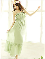 Vogue Falbala Layers High Waist Gallus Long Dress Green