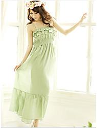 couches Falbala vogue haute gallus de taille longue robe verte