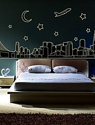 Wall Stickers Wall Decals City Architecture Decorative Luminous Sticker
