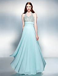 TS Couture® Formal Evening Dress Plus Size / Petite Sheath / Column Halter Floor-length Chiffon with Beading / Ruching