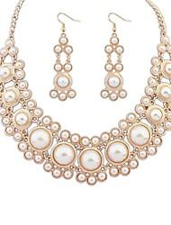 Women's Noble Layers Pearls Bib Statement Necklace Earrings Set