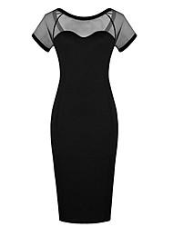 De cuello redondo de la Mujer Costura Vestido ajustado