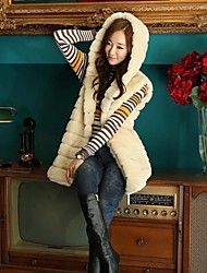 Fur Vests Fashion Hooded Sleeveless Fur Vest