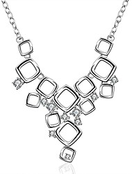 Fashion Modeling Exaggerated Square Dress set Zircon Silver Necklace 925