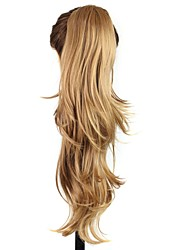 Claw Clip Synthetic 22 Inch  Golden Brown Long Curly Ponytail