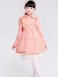Girl's Floral Jacket & Coat,Cotton Blend Winter / Spring / Fall Brown / Pink
