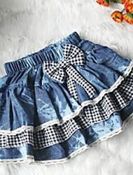 Stylish Bowknot Embellished Jeans Skirt Black