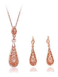 WEIMEI Women's Temperament Rhinestone Teardrop Elegance Fashion Necklace Earrings Suits