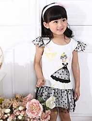 Girl's White / Yellow Dress Cotton Summer