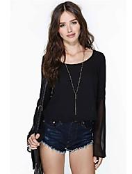 Donna Sexy Lady maniche lunghe in chiffon Vedere attraverso Indietro allentata T-shirt casual