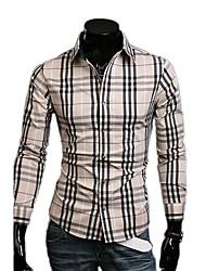 Fengshang Heren Nieuwe Stijl Bodycon Casual controleren Beige shirt