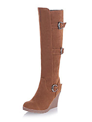 Women's Shoes Round Toe Wedge Heel Flocking Knee High Boots More Colors available