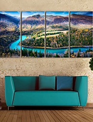 E-HOME® Stretched Canvas Art Between The Mountains And Rivers Decorative Painting Set of 4