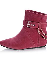 sapatos femininos calcanhar plana dedo apontado reunindo ankle boots mais cores disponíveis