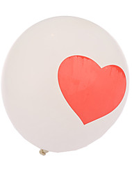 Extra Large White Size Thick Heart Round Balloons--Set of 24