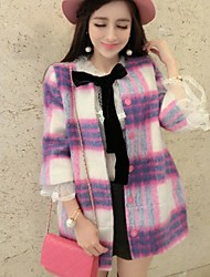 moda casaco de tweed de trincheira das mulheres