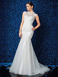 Lanting Trumpet/Mermaid Petite / Plus Sizes Wedding Dress - Ivory Sweep/Brush Train High Neck Lace / Tulle