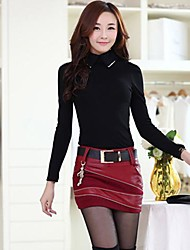 mode code de gros jupe pu de couture des femmes