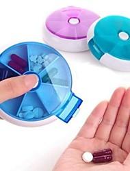 Portable Circular Rotating Seven Days Pill Storage Box, Random Color