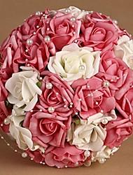Elegant Round Shape Silk Red Wedding Bouquet