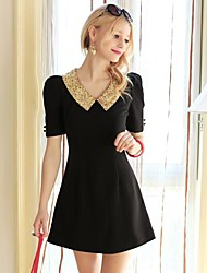 Women's Dresses , Polyester/Spandex/Viscose Short Sleeve DABUWAWA