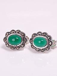 AS 925 Silver Jewelry  Green Agate Earrings