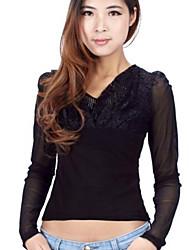 moda v colarinho carta de volta rendas blusa preta