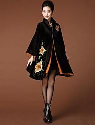 YINQIAN®Women's Women's Pleuche Flower Embroidery A Line Coat