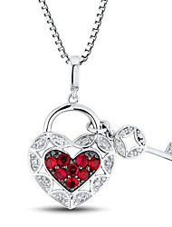 Women's Fashion Heart Shape Inlay Ruby and Diamond Sterling Silver Platinum-Plated Necklace