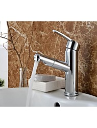 Solid Brass Chrome Single Handle Single Hole Hot and Cold Water Bathroom Sink Faucet 2503