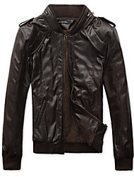 Dibai мужская мода досуга установлены кожаное пальто