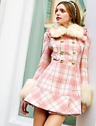 Pink Doll® Women's Fashion Plaid Pattern Slim Woolen Coat